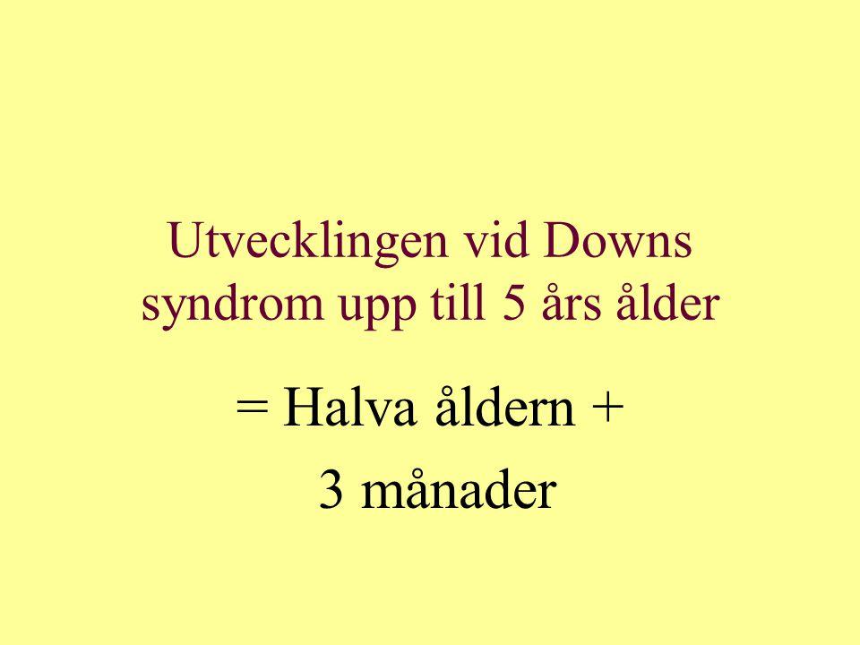 Tillväxtdata vid Downs syndrom 18 år gamla KvinnorLängd 147,5 + 6 cmVikt 54 + 7,5 kg MänLängd 161,5 + 6 cmVikt 61 + 8,5 kg 1/3 överviktiga i Sverige, >70% i USA Testisvolym 10-12 ml Tidig pubertet och tidig menopaus