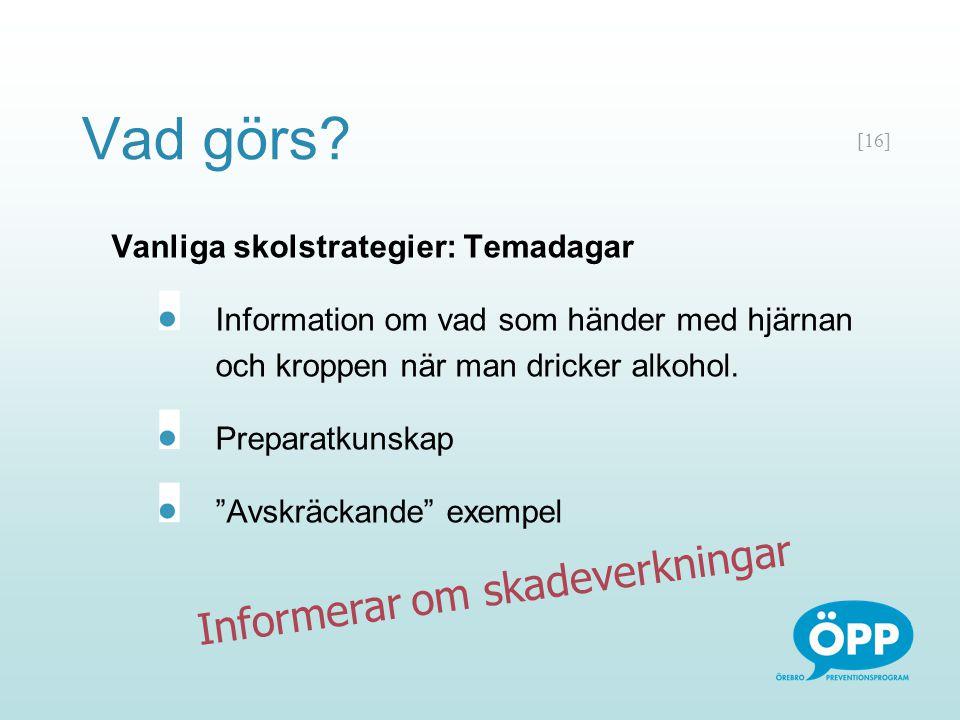 """[16] Vanliga skolstrategier: Temadagar Information om vad som händer med hjärnan och kroppen när man dricker alkohol. Preparatkunskap """"Avskräckande"""" e"""