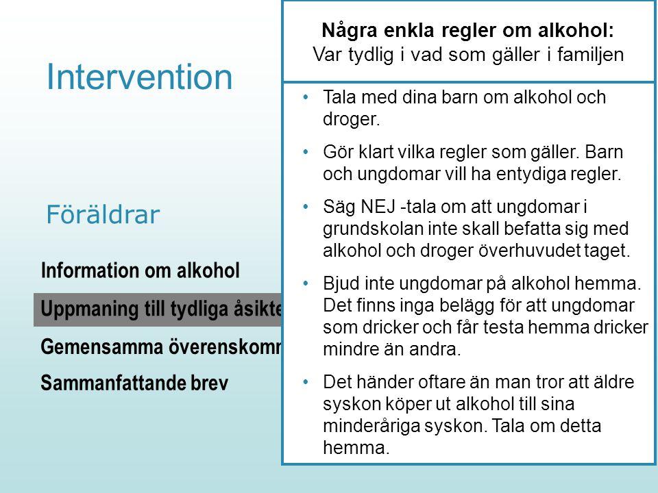 [45] Intervention Information om alkohol Gemensamma överenskommelser Uppmaning till tydliga åsikter Föräldrar Några enkla regler om alkohol: Var tydli