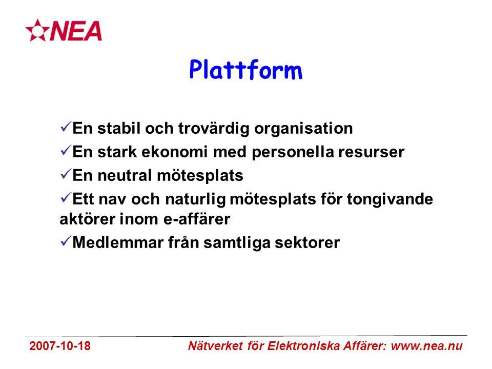 2007-10-18 Nätverket för Elektroniska Affärer: www.nea.nu Plattform En stabil och trovärdig organisation En stark ekonomi med personella resurser En neutral mötesplats Ett nav och naturlig mötesplats för tongivande aktörer inom e-affärer Medlemmar från samtliga sektorer