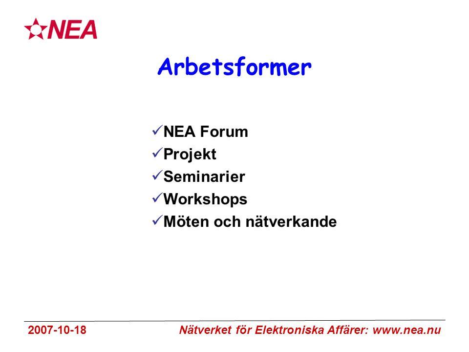 2007-10-18 Nätverket för Elektroniska Affärer: www.nea.nu Arbetsformer NEA Forum Projekt Seminarier Workshops Möten och nätverkande