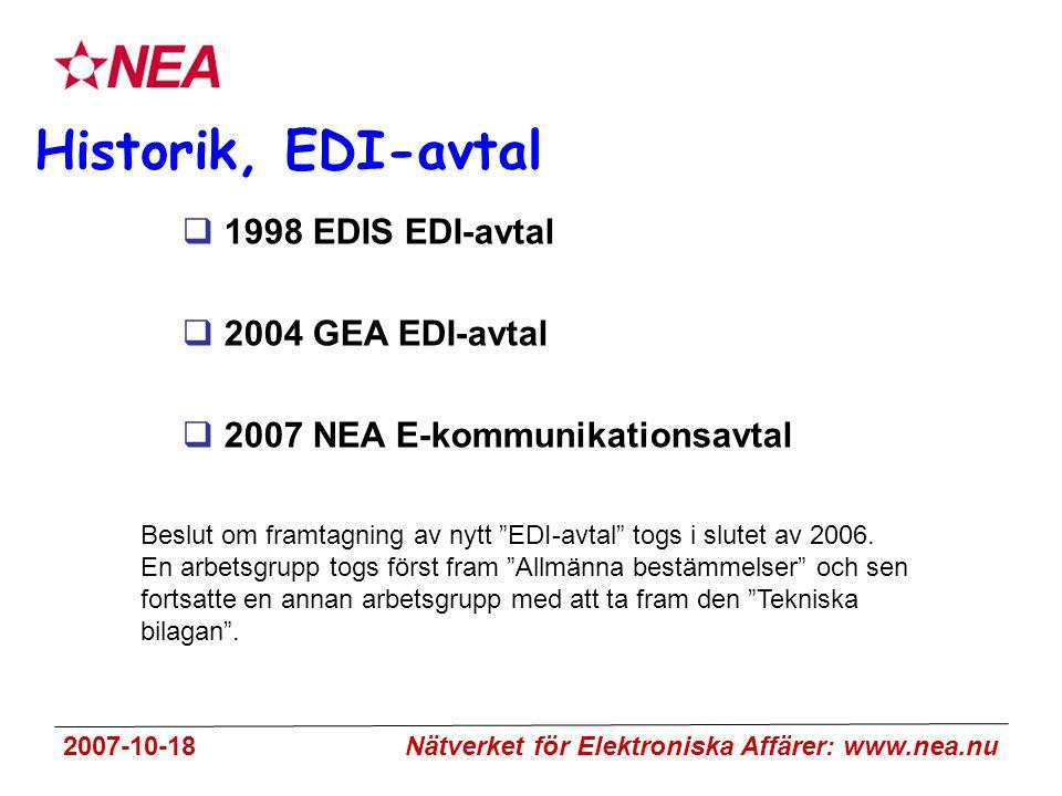 2007-10-18 Nätverket för Elektroniska Affärer: www.nea.nu Historik, EDI-avtal  1998 EDIS EDI-avtal  2004 GEA EDI-avtal  2007 NEA E-kommunikationsavtal Beslut om framtagning av nytt EDI-avtal togs i slutet av 2006.