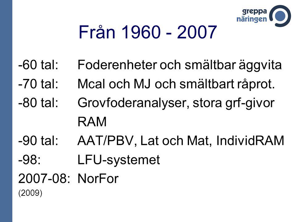 Från 1960 - 2007 -60 tal:Foderenheter och smältbar äggvita -70 tal:Mcal och MJ och smältbart råprot. -80 tal:Grovfoderanalyser, stora grf-givor RAM -9