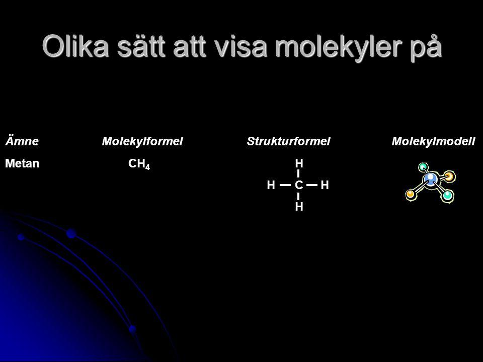 Olika sätt att visa molekyler på ÄmneMolekylformelStrukturformelMolekylmodell Metan CH 4 H HC H H