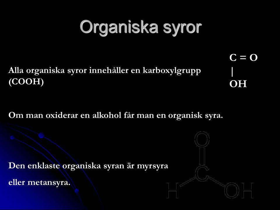 Organiska syror Alla organiska syror innehåller en karboxylgrupp (COOH) Om man oxiderar en alkohol får man en organisk syra. Den enklaste organiska sy