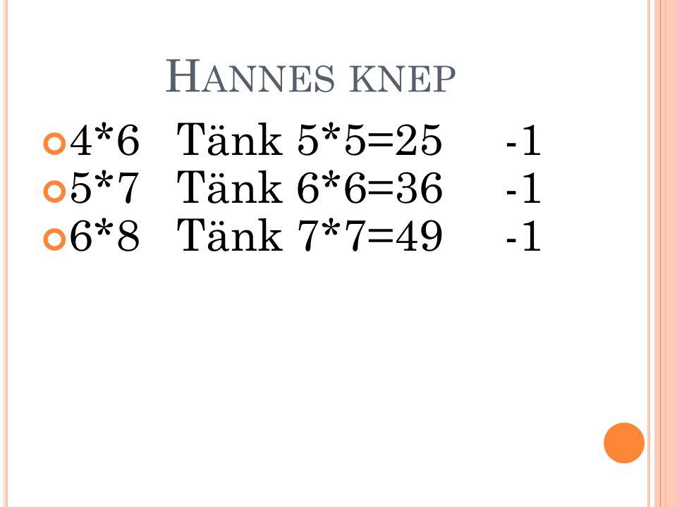H ANNES KNEP 4*6 Tänk 5*5=25 -1 5*7 Tänk 6*6=36 -1 6*8 Tänk 7*7=49 -1