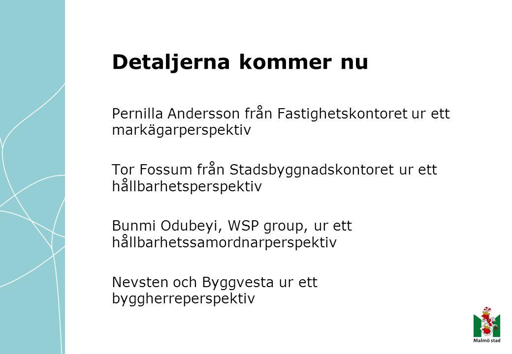 Detaljerna kommer nu Pernilla Andersson från Fastighetskontoret ur ett markägarperspektiv Tor Fossum från Stadsbyggnadskontoret ur ett hållbarhetspers