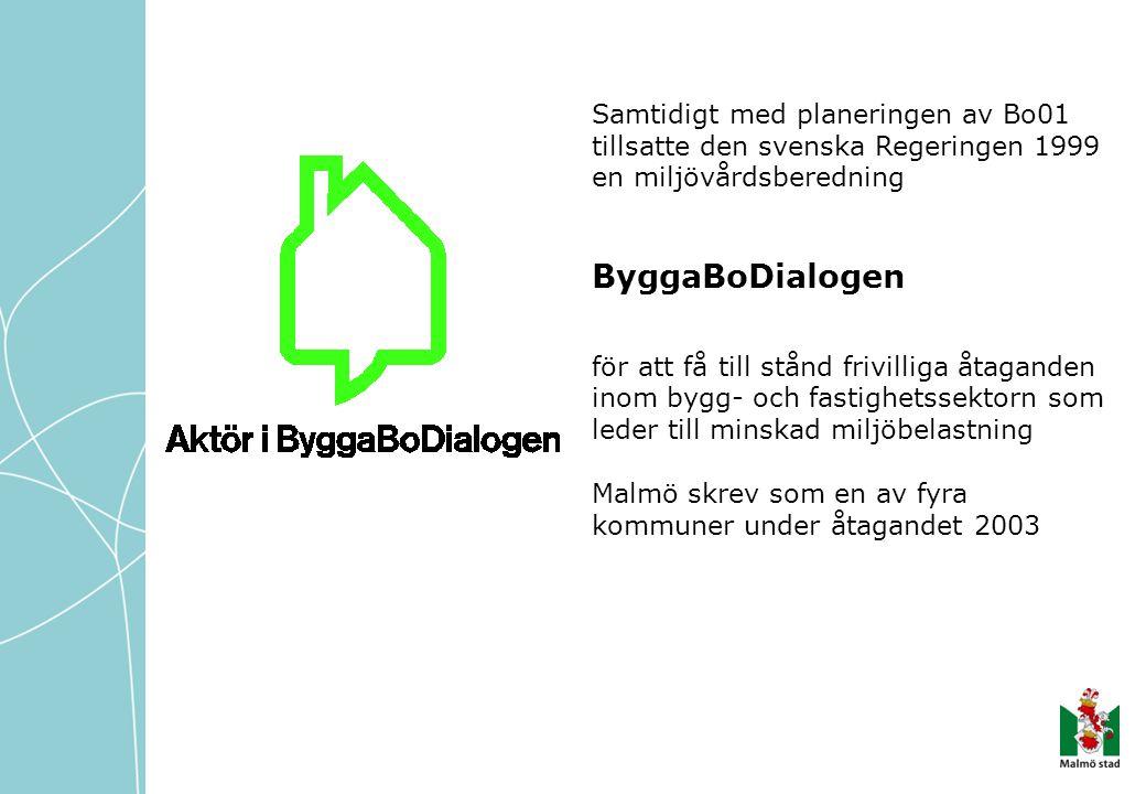 Samtidigt med planeringen av Bo01 tillsatte den svenska Regeringen 1999 en miljövårdsberedning ByggaBoDialogen för att få till stånd frivilliga åtagan