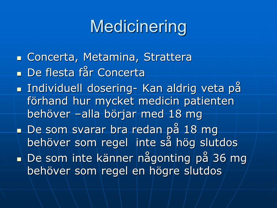 Medicinering Concerta, Metamina, Strattera Concerta, Metamina, Strattera De flesta får Concerta De flesta får Concerta Individuell dosering- Kan aldri