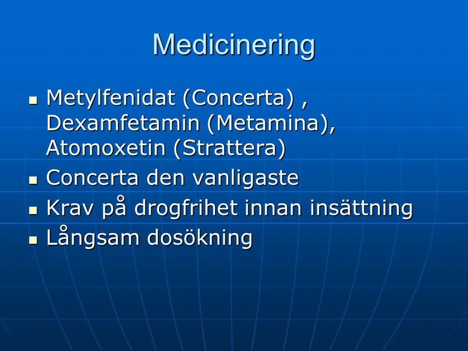 Medicinering Metylfenidat (Concerta), Dexamfetamin (Metamina), Atomoxetin (Strattera) Metylfenidat (Concerta), Dexamfetamin (Metamina), Atomoxetin (St