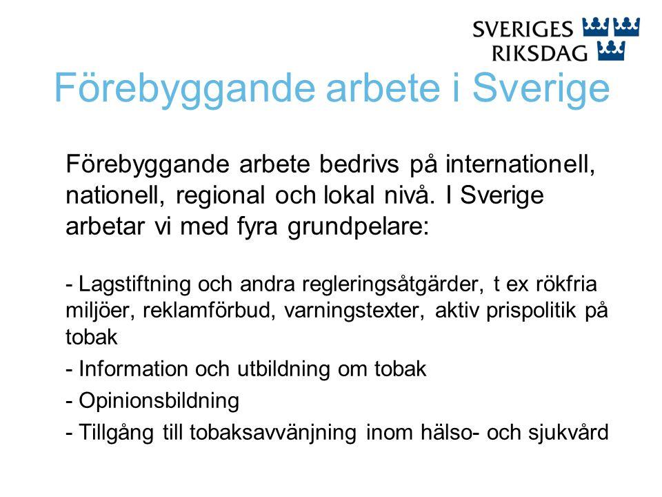 Förebyggande arbete i Sverige Förebyggande arbete bedrivs på internationell, nationell, regional och lokal nivå. I Sverige arbetar vi med fyra grundpe