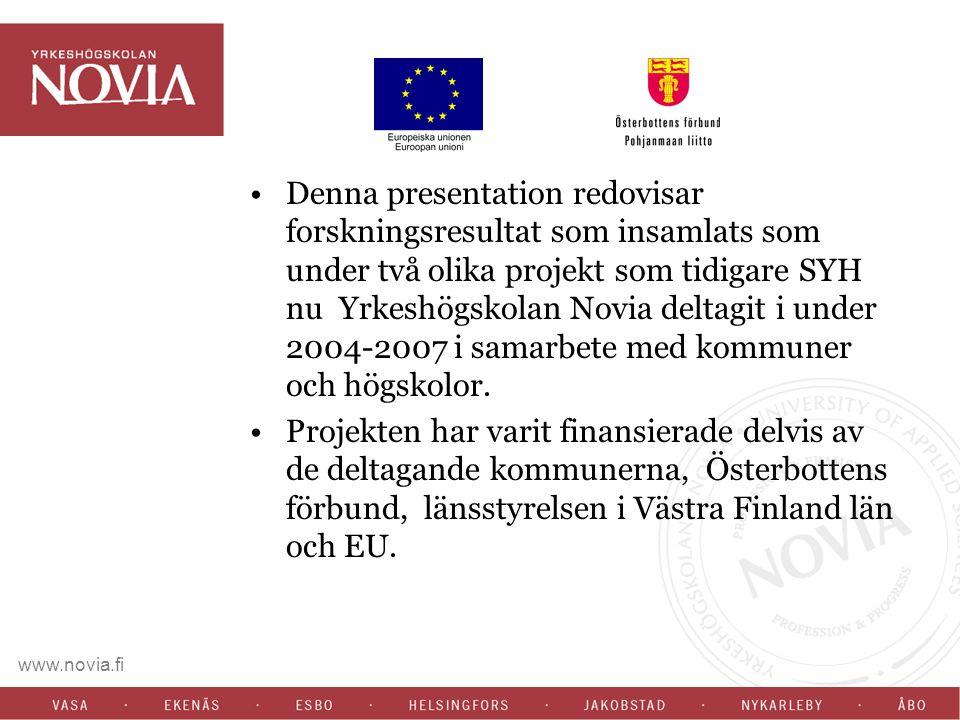 Redovisning av resultat Gerda- Gerontologisk Databas och resurscentrum : Deltagare 240 personer över 85 år 177 kvinnor och 63 män i Vasa och Korsholm Boende både på anstalt (47%) och hemma (53%) Ca två tredjedelar var ensamboende och en tredjedel bodde med någon.