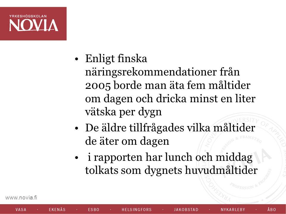 www.novia.fi Enligt finska näringsrekommendationer från 2005 borde man äta fem måltider om dagen och dricka minst en liter vätska per dygn De äldre tillfrågades vilka måltider de äter om dagen i rapporten har lunch och middag tolkats som dygnets huvudmåltider