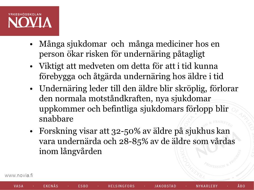 Det konstaterades också att det ej finns något direkt samband mellan MNA och BMI hos de äldsta äldre.