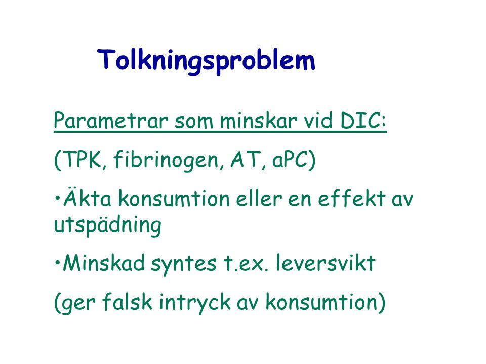 Tolkningsproblem Parametrar som minskar vid DIC: (TPK, fibrinogen, AT, aPC) Äkta konsumtion eller en effekt av utspädning Minskad syntes t.ex. leversv
