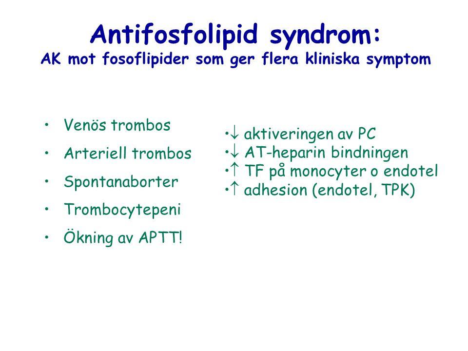 Antifosfolipid syndrom: AK mot fosoflipider som ger flera kliniska symptom Venös trombos Arteriell trombos Spontanaborter Trombocytepeni Ökning av APT