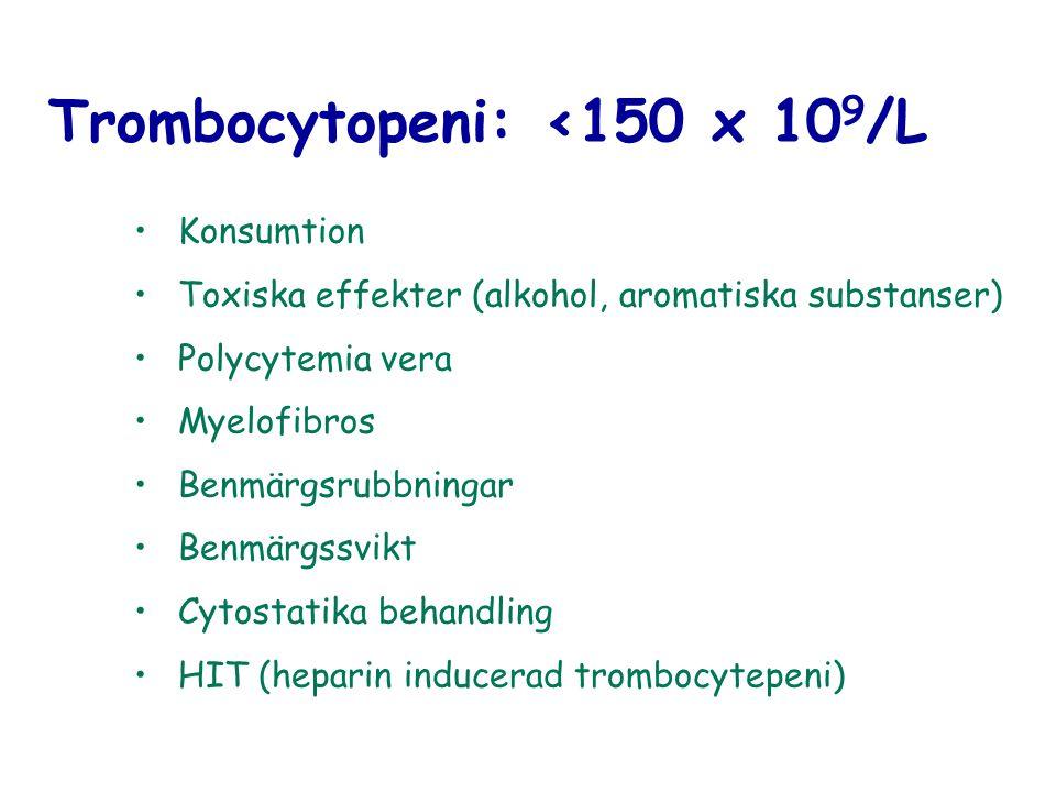 Trombocytopeni: <150 x 10 9 /L Konsumtion Toxiska effekter (alkohol, aromatiska substanser) Polycytemia vera Myelofibros Benmärgsrubbningar Benmärgssv