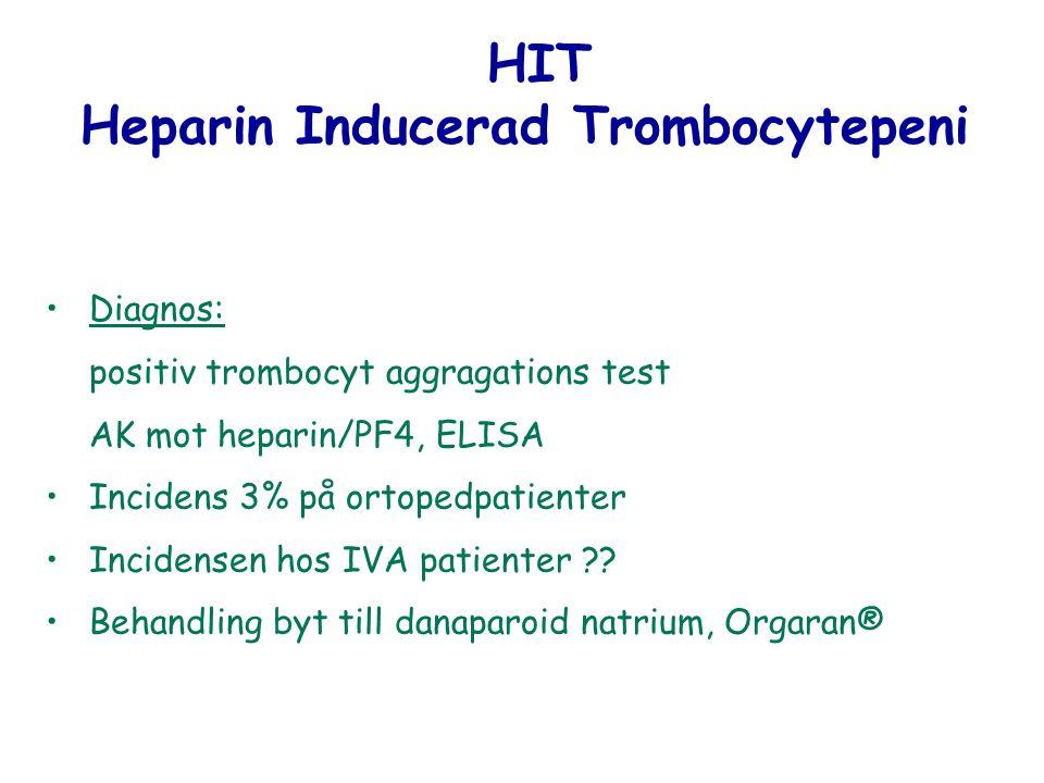 HIT Heparin Inducerad Trombocytepeni Diagnos: positiv trombocyt aggragations test AK mot heparin/PF4, ELISA Incidens 3% på ortopedpatienter Incidensen