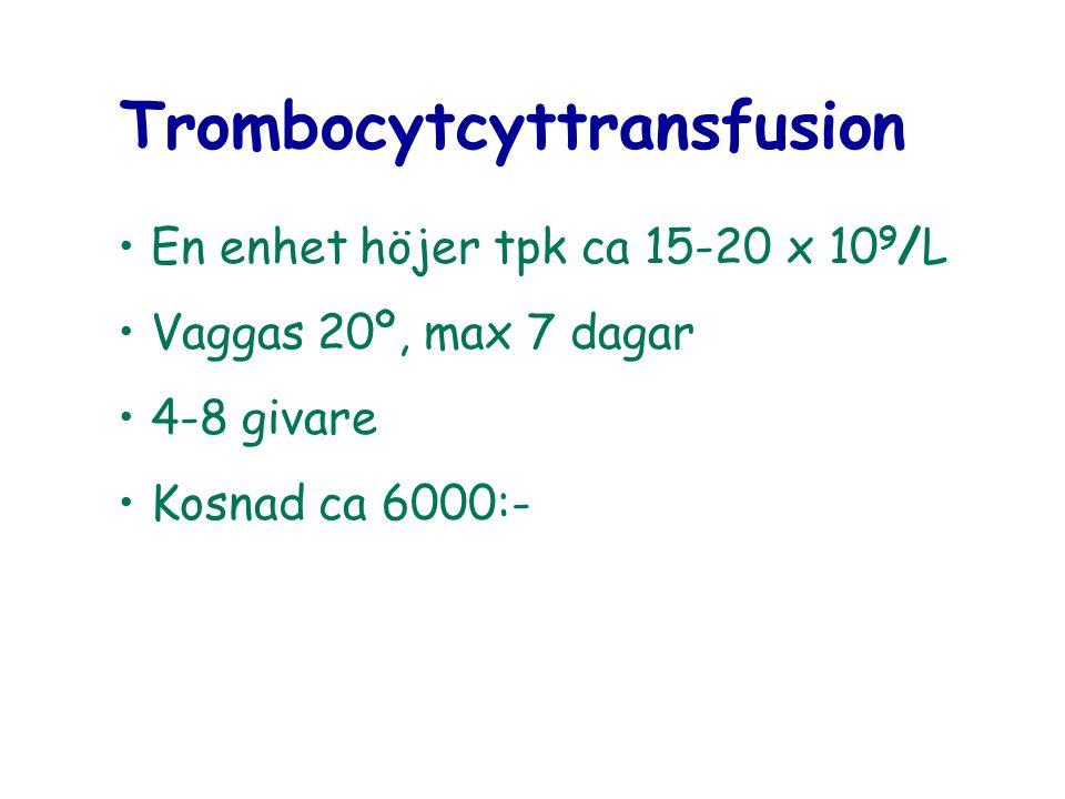 Trombocytcyttransfusion En enhet höjer tpk ca 15-20 x 10 9 /L Vaggas 20º, max 7 dagar 4-8 givare Kosnad ca 6000:-