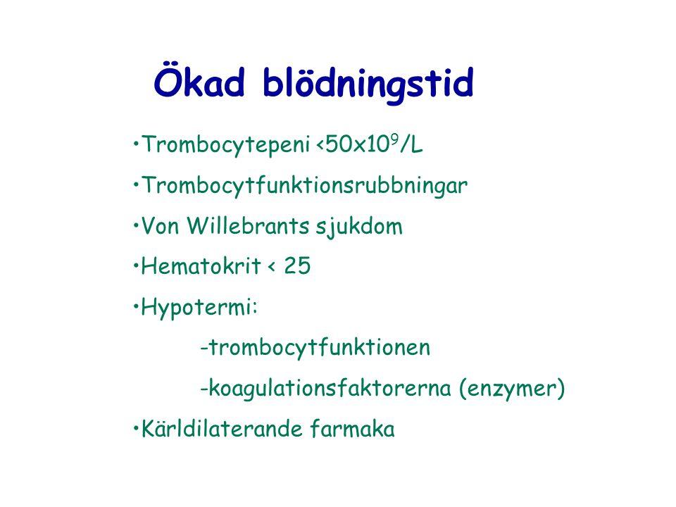Ökad blödningstid Trombocytepeni <50x10 9 /L Trombocytfunktionsrubbningar Von Willebrants sjukdom Hematokrit < 25 Hypotermi: -trombocytfunktionen -koa
