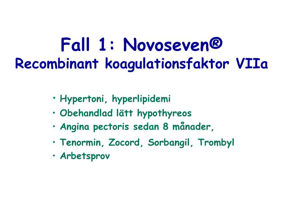 Fall 1: Novoseven® Recombinant koagulationsfaktor VIIa Hypertoni, hyperlipidemi Obehandlad lätt hypothyreos Angina pectoris sedan 8 månader, Tenormin,