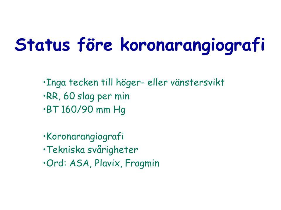 Status före koronarangiografi Inga tecken till höger- eller vänstersvikt RR, 60 slag per min BT 160/90 mm Hg Koronarangiografi Tekniska svårigheter Or