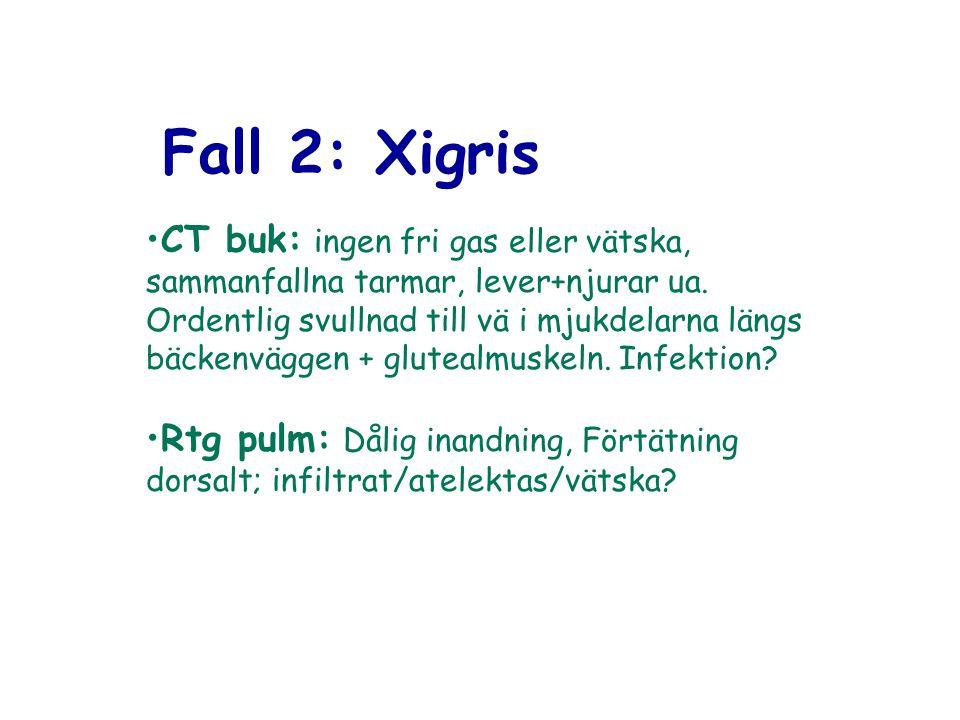 Fall 2: Xigris CT buk: ingen fri gas eller vätska, sammanfallna tarmar, lever+njurar ua. Ordentlig svullnad till vä i mjukdelarna längs bäckenväggen +