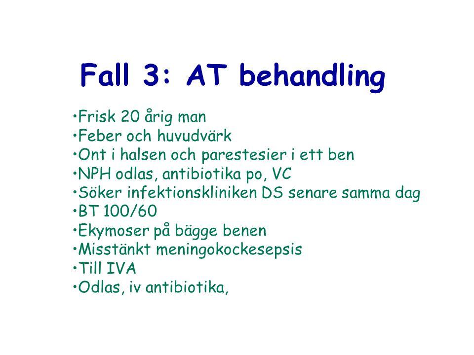 Fall 3: AT behandling Frisk 20 årig man Feber och huvudvärk Ont i halsen och parestesier i ett ben NPH odlas, antibiotika po, VC Söker infektionsklini