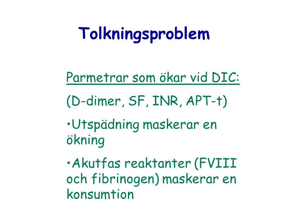 Tolkningsproblem Parmetrar som ökar vid DIC: (D-dimer, SF, INR, APT-t) Utspädning maskerar en ökning Akutfas reaktanter (FVIII och fibrinogen) maskera