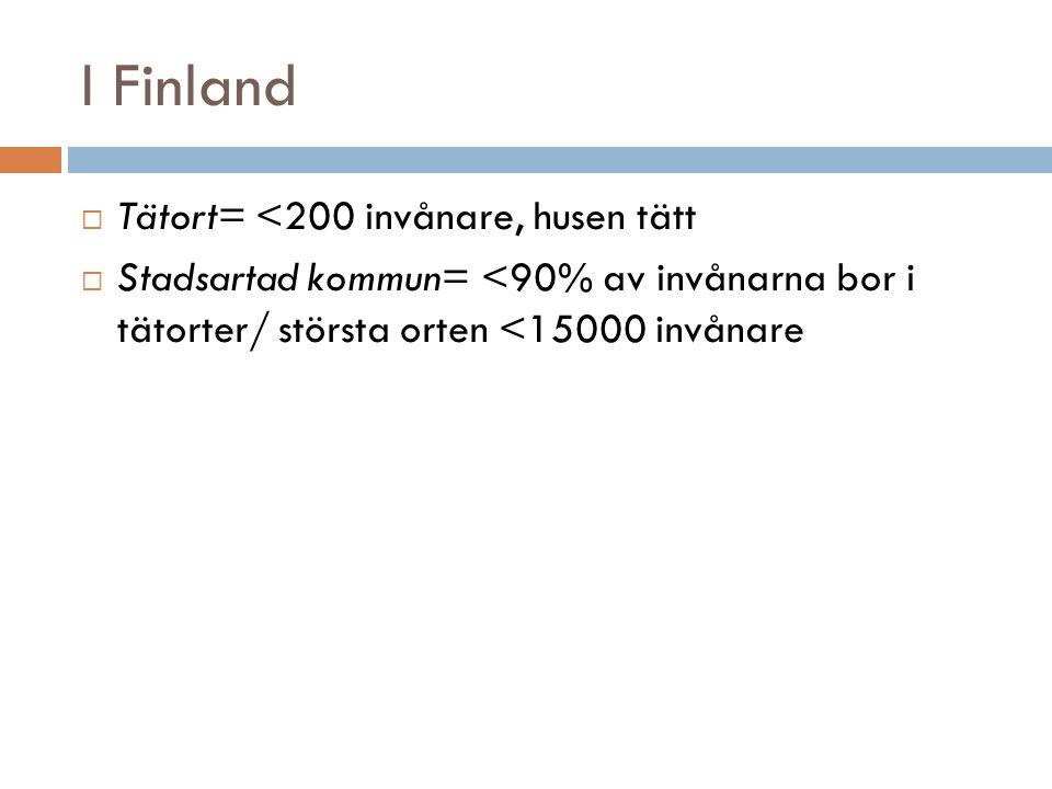 I Finland  Tätort= <200 invånare, husen tätt  Stadsartad kommun= <90% av invånarna bor i tätorter/ största orten <15000 invånare