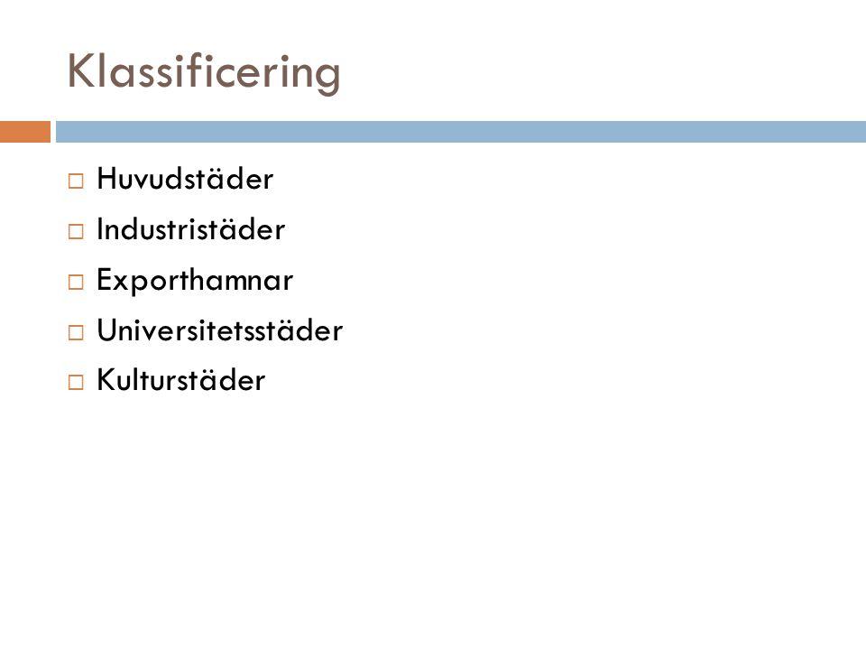 Klassificering  Huvudstäder  Industristäder  Exporthamnar  Universitetsstäder  Kulturstäder
