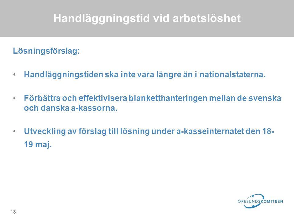 13 Handläggningstid vid arbetslöshet Lösningsförslag: Handläggningstiden ska inte vara längre än i nationalstaterna.