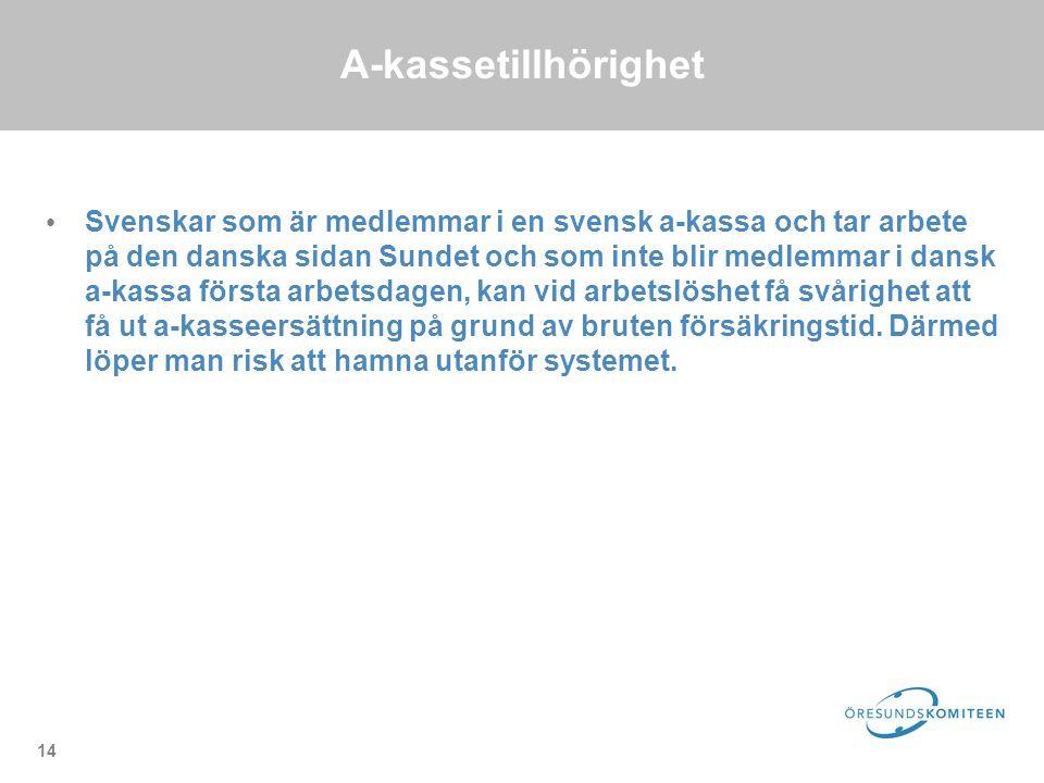 14 A-kassetillhörighet Svenskar som är medlemmar i en svensk a-kassa och tar arbete på den danska sidan Sundet och som inte blir medlemmar i dansk a-kassa första arbetsdagen, kan vid arbetslöshet få svårighet att få ut a-kasseersättning på grund av bruten försäkringstid.