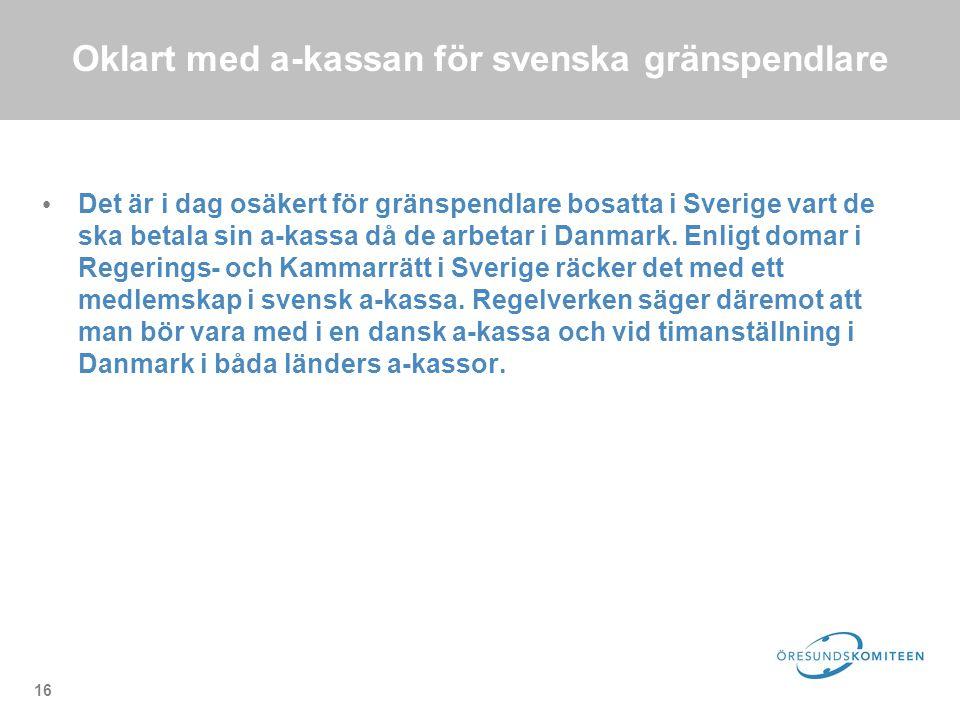 16 Oklart med a-kassan för svenska gränspendlare Det är i dag osäkert för gränspendlare bosatta i Sverige vart de ska betala sin a-kassa då de arbetar i Danmark.