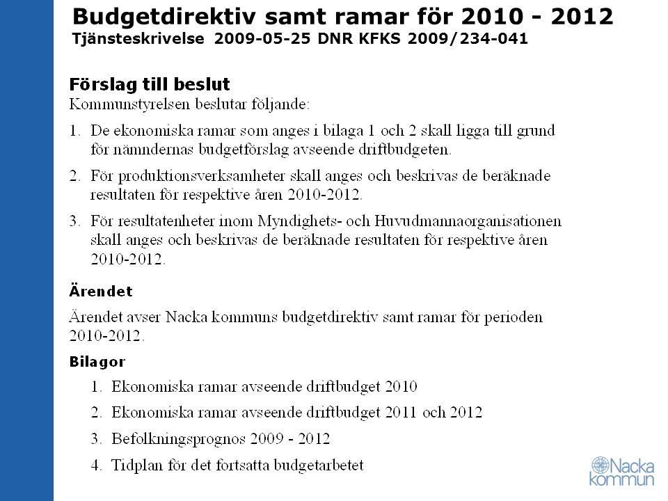 Budgetdirektiv samt ramar för 2010 - 2012 Tjänsteskrivelse 2009-05-25 DNR KFKS 2009/234-041