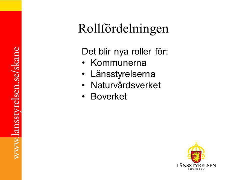 Rollfördelningen Det blir nya roller för: Kommunerna Länsstyrelserna Naturvårdsverket Boverket