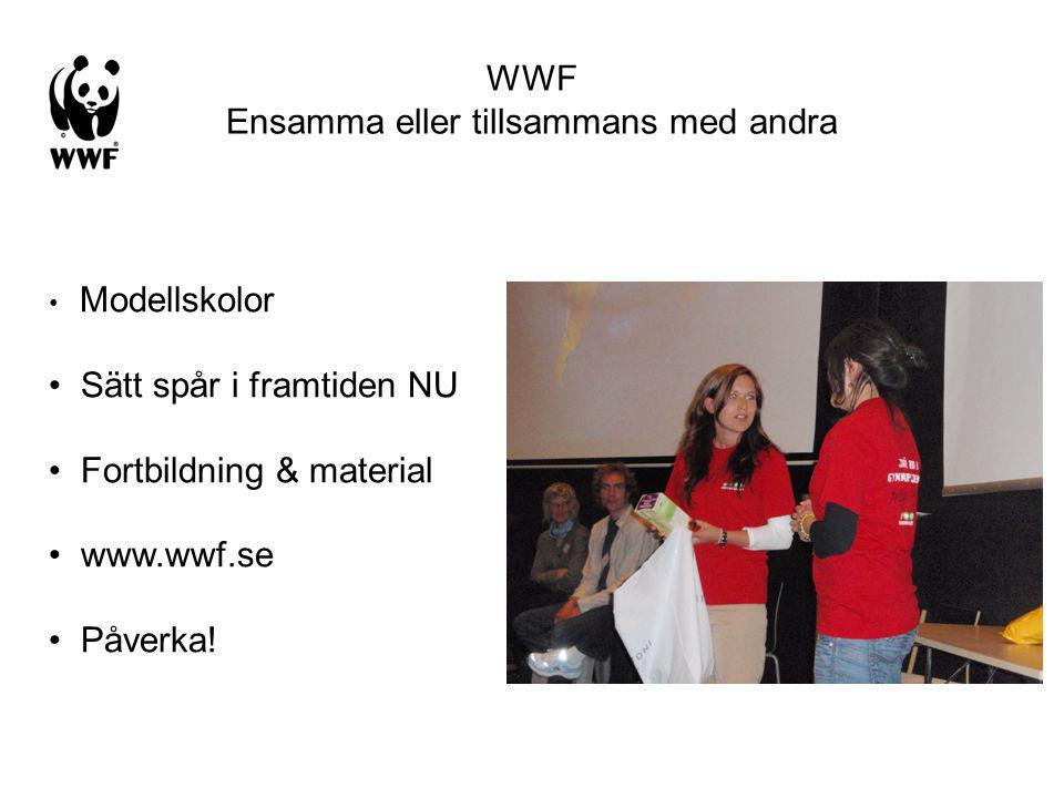 WWF Ensamma eller tillsammans med andra Modellskolor Sätt spår i framtiden NU Fortbildning & material www.wwf.se Påverka!