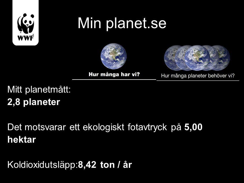 Min planet.se Mitt planetmått: 2,8 planeter Det motsvarar ett ekologiskt fotavtryck på 5,00 hektar Koldioxidutsläpp:8,42 ton / år