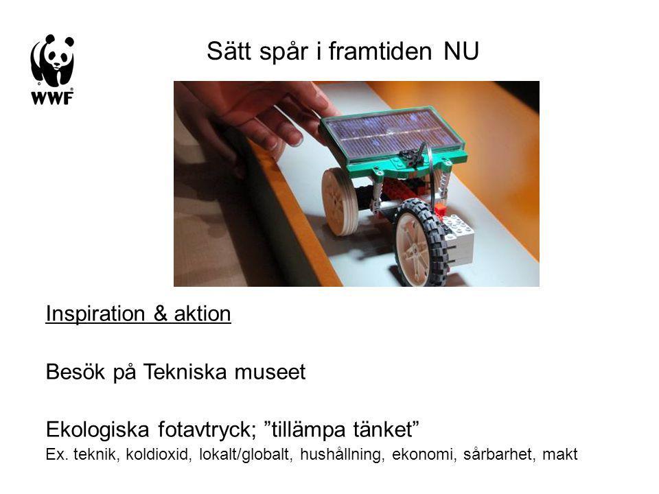 Sätt spår i framtiden NU Inspiration & aktion Besök på Tekniska museet Ekologiska fotavtryck; tillämpa tänket Ex.