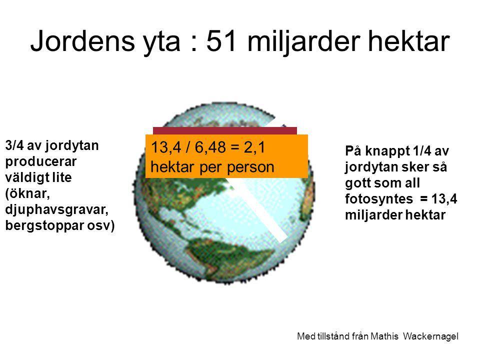 Jordens yta : 51 miljarder hektar På knappt 1/4 av jordytan sker så gott som all fotosyntes = 13,4 miljarder hektar 3/4 av jordytan producerar väldigt lite (öknar, djuphavsgravar, bergstoppar osv) Med tillstånd från Mathis Wackernagel Dela lika.