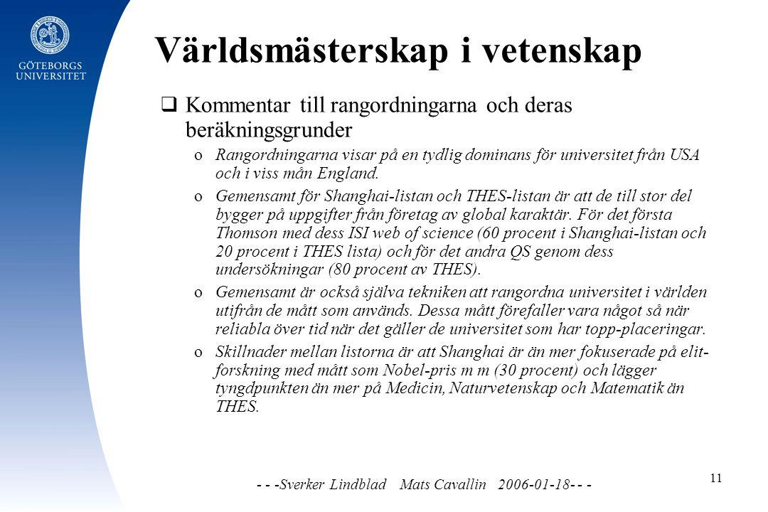 Världsmästerskap i vetenskap - - -Sverker Lindblad Mats Cavallin 2006-01-18- - - 11  Kommentar till rangordningarna och deras beräkningsgrunder o Rangordningarna visar på en tydlig dominans för universitet från USA och i viss mån England.