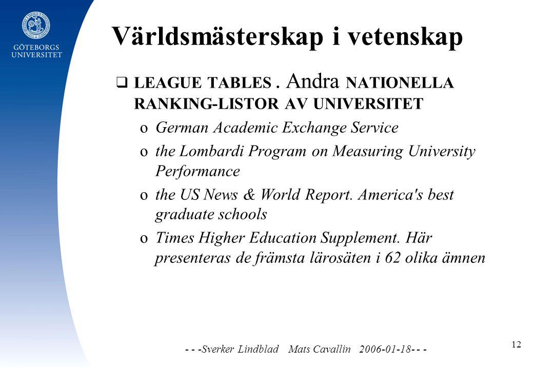 Världsmästerskap i vetenskap - - -Sverker Lindblad Mats Cavallin 2006-01-18- - - 12  LEAGUE TABLES.