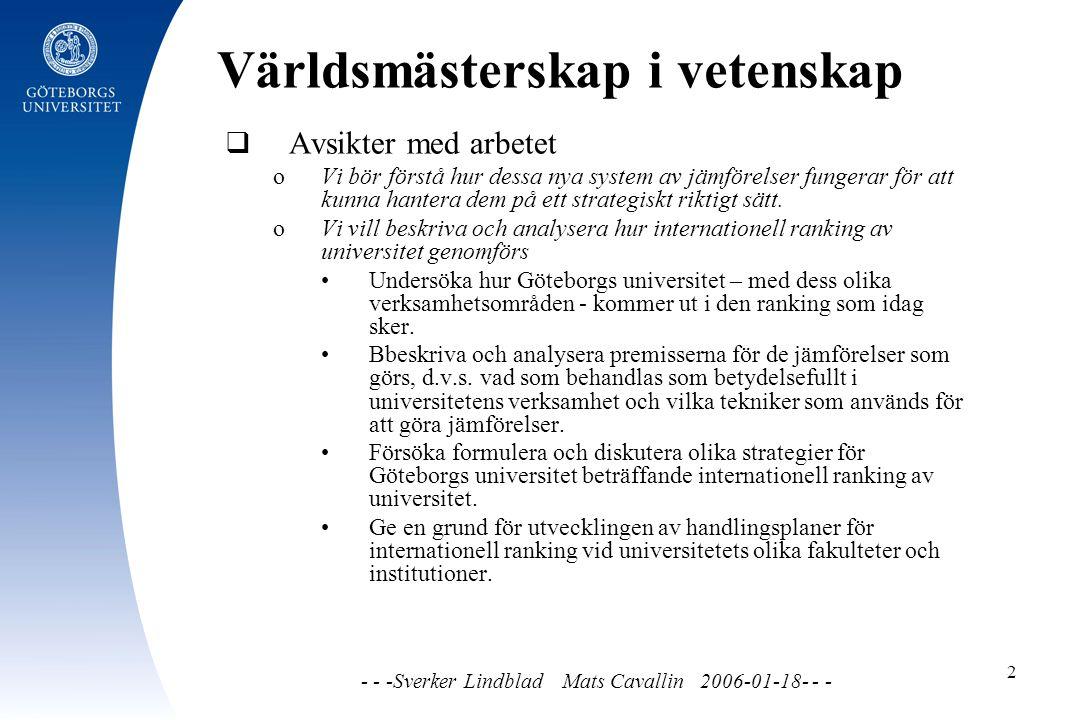 Världsmästerskap i vetenskap - - -Sverker Lindblad Mats Cavallin 2006-01-18- - - 2  Avsikter med arbetet o Vi bör förstå hur dessa nya system av jämförelser fungerar för att kunna hantera dem på ett strategiskt riktigt sätt.