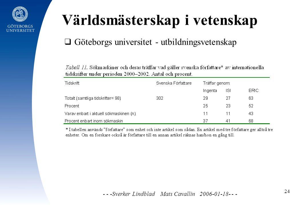 Världsmästerskap i vetenskap - - -Sverker Lindblad Mats Cavallin 2006-01-18- - - 24  Göteborgs universitet - utbildningsvetenskap