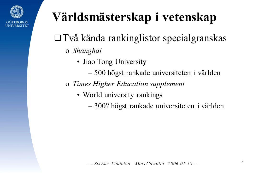 Världsmästerskap i vetenskap - - -Sverker Lindblad Mats Cavallin 2006-01-18- - - 3  Två kända rankinglistor specialgranskas o Shanghai Jiao Tong University – 500 högst rankade universiteten i världen o Times Higher Education supplement World university rankings – 300.