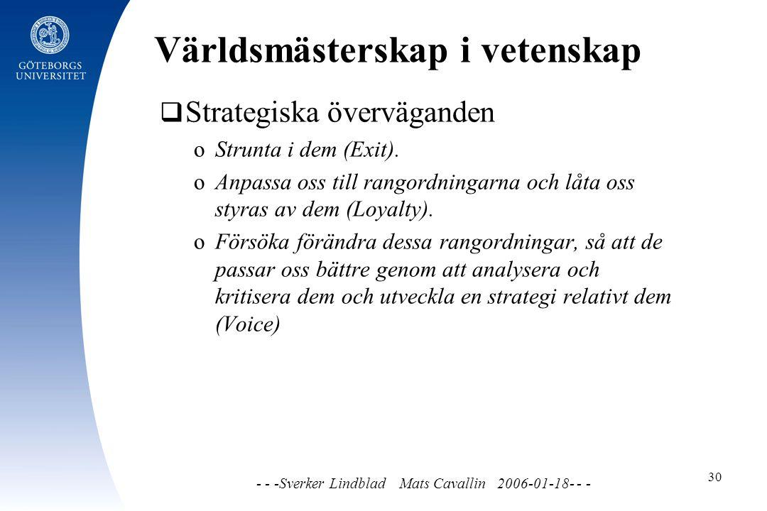 Världsmästerskap i vetenskap - - -Sverker Lindblad Mats Cavallin 2006-01-18- - - 30  Strategiska överväganden o Strunta i dem (Exit).