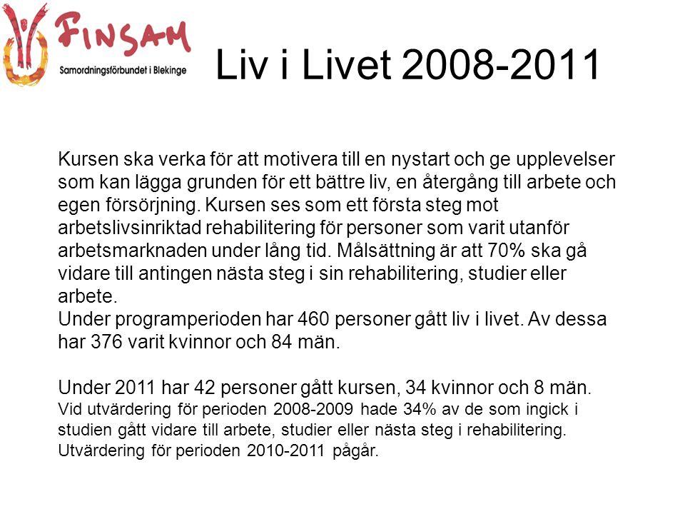 Liv i Livet 2008-2011 Kursen ska verka för att motivera till en nystart och ge upplevelser som kan lägga grunden för ett bättre liv, en återgång till arbete och egen försörjning.