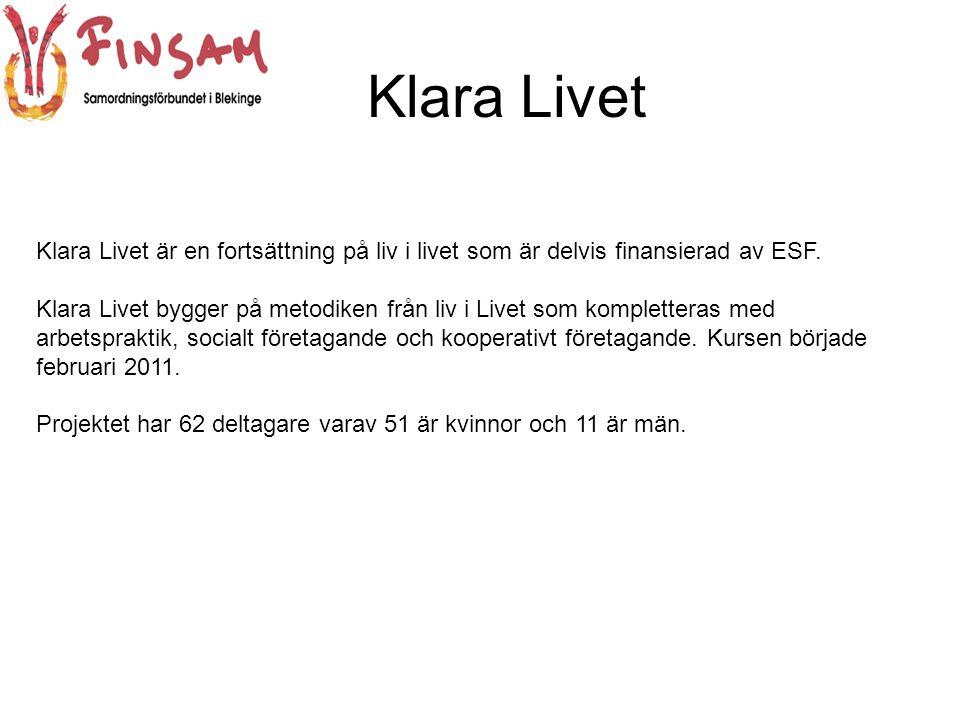 Klara Livet Klara Livet är en fortsättning på liv i livet som är delvis finansierad av ESF.