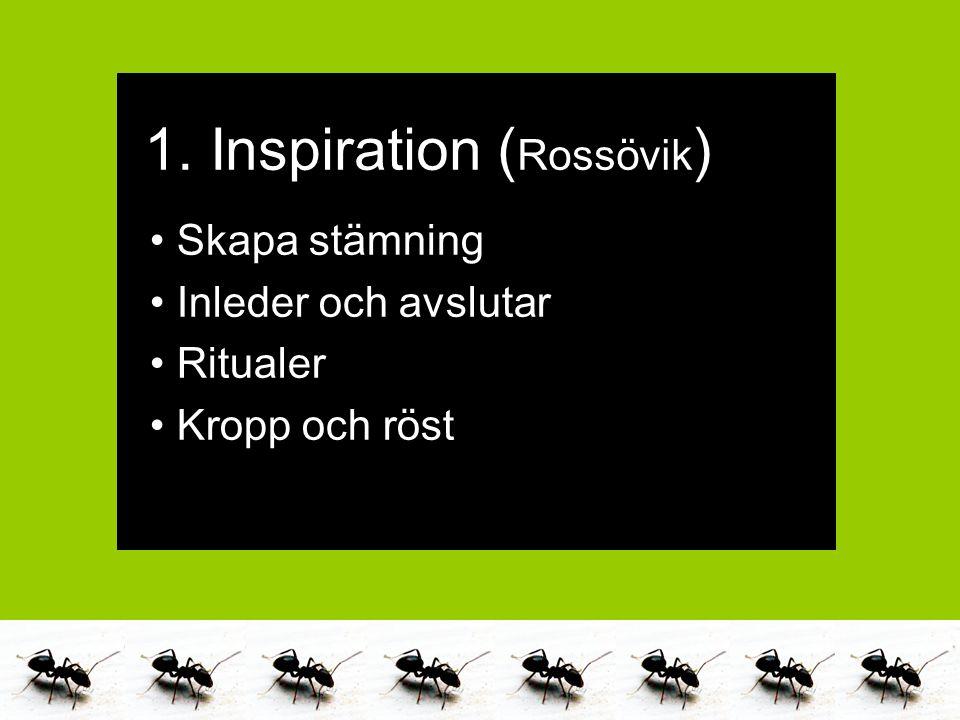 Marika Alneng & Catarina Jacobsson 2011 Skapa stämning Inleder och avslutar Ritualer Kropp och röst 1. Inspiration ( Rossövik )