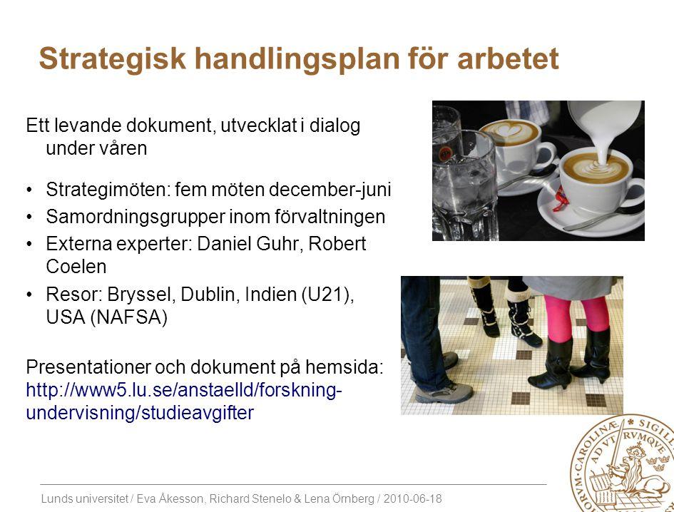 Lunds universitet / Eva Åkesson, Richard Stenelo & Lena Örnberg / 2010-06-18 Strategisk handlingsplan för arbetet Ett levande dokument, utvecklat i di
